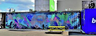 Photograph - New Zealand - Graffiti 2 - Conatiner - Boy And Slushie - Girl And Man by Jeremy Hall