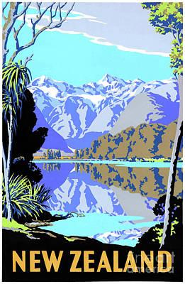 Drawing - New Zealand Lake Matheson Vintage Travel Poster by Carsten Reisinger