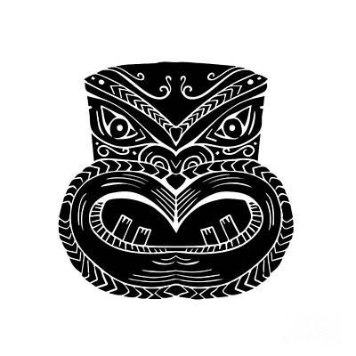 Maori Wall Art - Digital Art - New Zealand Maori Koruru Tiki Mask Woodcut by Aloysius Patrimonio