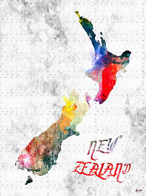 Mixed Media - New Zealand Map Grunge by Daniel Janda