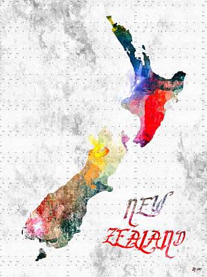 Mixed Media - New Zealand Map Grunge by Daniel Janda