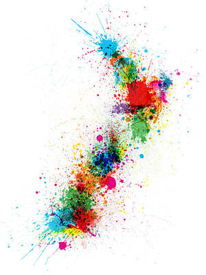 New Zealand Paint Splashes Map Art Print by Michael Tompsett