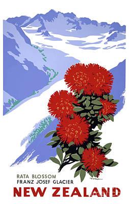 Photograph - New Zealand Rata Blossom Vintage Travel Poster by Carsten Reisinger
