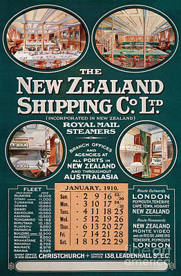 Cabin Interiors Mixed Media - New Zealand Shipping Co. Vintage Poster by Carsten Reisinger