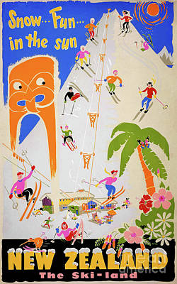 Drawing - New Zealand Snow Fun In The Sun Vintage Poster by Carsten Reisinger