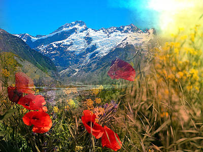 New Zealand Southern Alps Montage Art Print