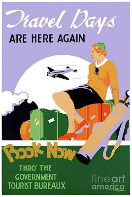 Drawing - New Zealand Travel Days Vintage Travel Poster by Carsten Reisinger