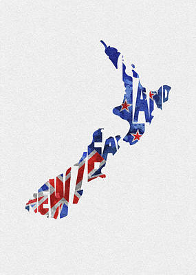 Tourism Digital Art - New Zealand Typographic Map Flag by Inspirowl Design