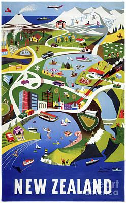 Drawing - New Zealand Wellington Vintage Travel Poster by Carsten Reisinger
