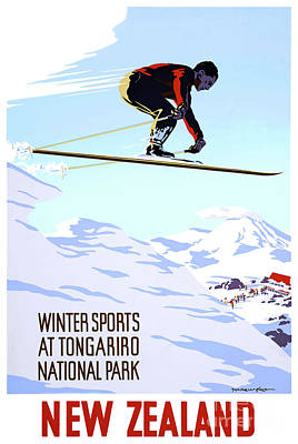 Drawing - New Zealand Winter Sports Vintage Travel Poster by Carsten Reisinger