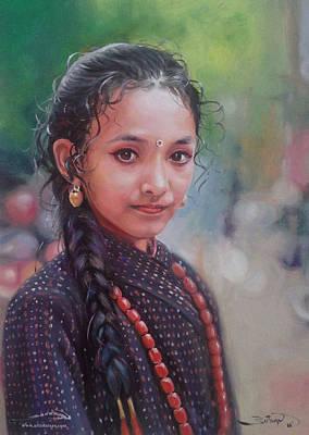 Nepali Painting - Newari Girl by Utsav Adhikari