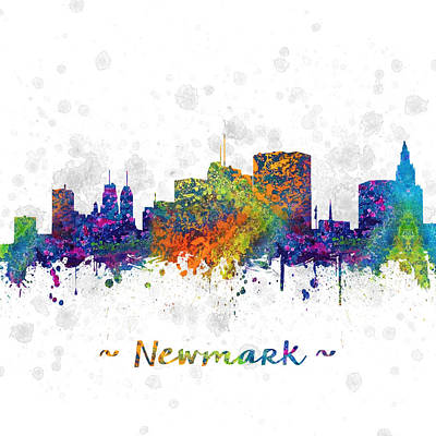New Jersey Drawing - Newark New Jersey Skyline Color 03sq by Aged Pixel