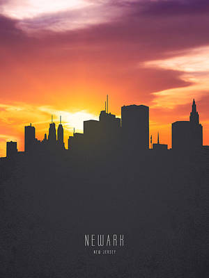 Newark New Jersey Sunset Skyline 01 Art Print by Aged Pixel