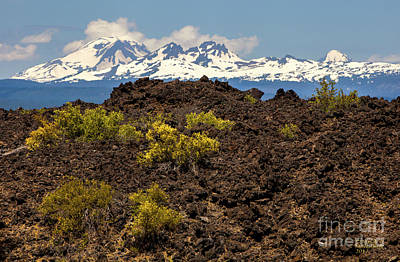 Photograph - Newberry National Volcanic Monument And Sisters Mountains by David Millenheft