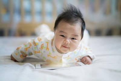 Newborn Baby Listen Song From Smart Phone Art Print