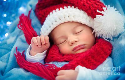 Photograph - Newborn Baby Sleeping On Christmas Eve by Anna Om