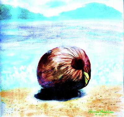 Painting - Newborn Coconut On The Beach by Wanvisa Klawklean