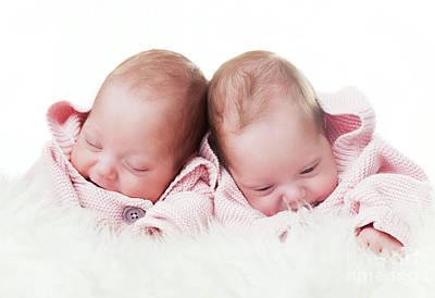 Hug Photograph - Newborn Twins Sisters Portrait On White Fur by Michal Bednarek