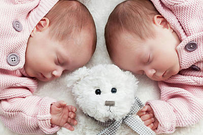Sleep Photograph - Newborn Twins Sisters Sleeping With A Teddy Bear In The Middle by Michal Bednarek