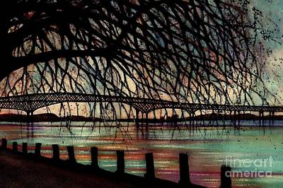 Painting - Newburgh - Beacon Bridge Evening Sky - Custom Cropped by Janine Riley