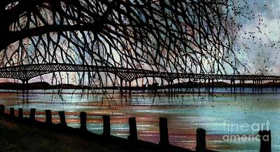 Painting - Newburgh - Beacon Bridge Night Sky by Janine Riley