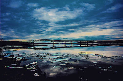 Hudson River Photograph - Newburgh Beacon Bridge With Clouds by Victory  Designs