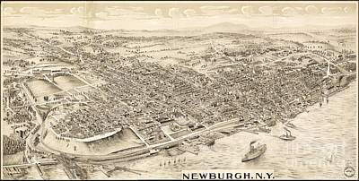 Photograph - Newburgh Ny Birds Eye Drawing by Joe Santacroce