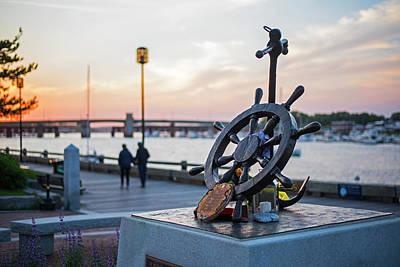 Photograph - Newburyport Harbor At Sunset Newburyport Ma Memorial by Toby McGuire
