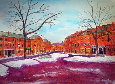 Painting - Newburyport Ma In Winter by Anne Sands