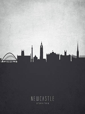 Newcastle Painting - Newcastle England Cityscape 19 by Aged Pixel