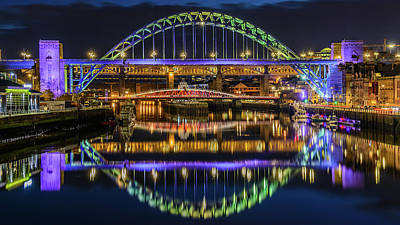 Newcastle Tyne Bridge Reflections Art Print by John Brown