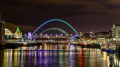 Newcastle Tyne Bridges And Sage At Night Art Print by John Brown