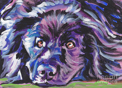 Dog Portrait Painting - Newfie  by Lea S