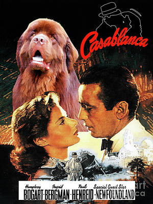 Painting - Newfoundland Art Canvas Print - Casablanca Movie Poster by Sandra Sij