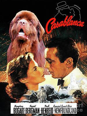 Painting - Newfoundland Art Canvas Print - Casablanca Movie Poster by Sandra Sij