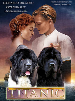 Painting - Newfoundland Art Canvas Print - Titanic Movie Poster by Sandra Sij