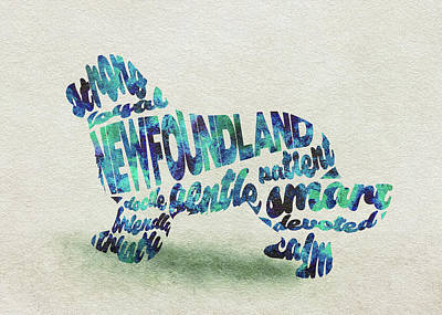 Newfoundland Dog Watercolor Painting / Typographic Art Art Print