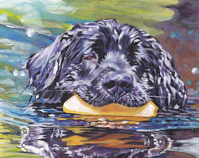 Newfoundland Puppy Painting - Newfoundland Swim by Lee Ann Shepard