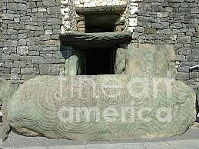 Photograph - Newgrange Entrance by Val Byrne