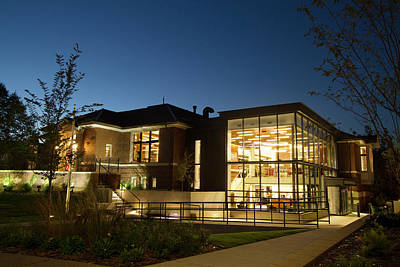 Photograph - Newly Remodeled Northfield Library At Dusk by Joe Miller