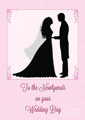 Digital Art - Newlyweds Silohuette by JH Designs