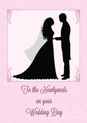 Digital Art - Newlyweds Silohuette by JH Designs