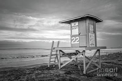 Newport Beach Ca Lifeguard Tower 22 Black And White Photo Art Print by Paul Velgos