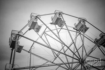 Newport Beach Ferris Wheel Black And White Photo Print by Paul Velgos