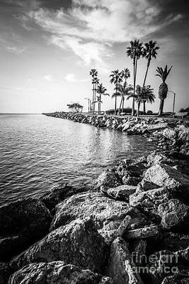 Newport Beach Jetty Black And White Photo Art Print