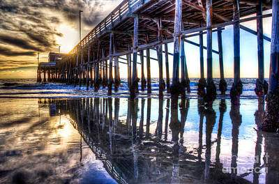 Newport Beach Pier - Reflections Art Print by Jim Carrell