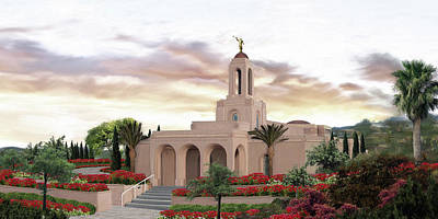 Lds Painting - Newport Beach Temple by Brent Borup