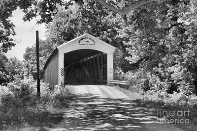 Photograph - Newport Covered Bridge In The Forest Black And White by Adam Jewell