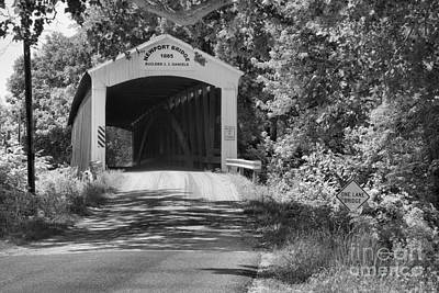 Photograph - Newport Covered Bridge Landscape Black And White by Adam Jewell