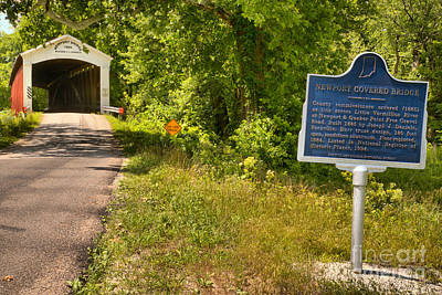 Photograph - Newport Covered Bridge Sign by Adam Jewell